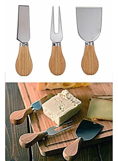 Kitchen Love 3Lü-Ahşap Saplı-Çelik -Peynir Bıçak Set-İnox Gri